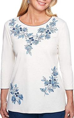 Looking for Alfred Dunner Women's Out The Blue Floral Embroidery Shirt ? Check out our picks for the Alfred Dunner Women's Out The Blue Floral Embroidery Shirt from the popular stores - all in one. Embroidery On Clothes, Shirt Embroidery, Floral Embroidery, Embroidered Shirts, Cute Dress Outfits, Cute Dresses, Alfred Dunner, Summer Girls, Night Gown