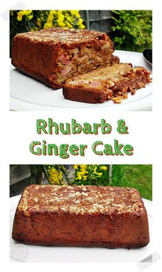 Rhubarb & Ginger Cake is a delicious cake made with fresh rhubarb and crystallised ginger topped with chopped almonds! Easy Cake Recipes, Vegan Recipes Easy, Cupcake Recipes, Baking Recipes, Sweet Recipes, Cupcake Cakes, Dessert Recipes, Budget Recipes, Dinner Recipes