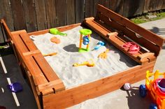 love this sandbox idea, benches become the top to cover it up, not sure I like the pricetag, but maybe it can be a DIY?