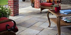 See Belgard's collection of concrete and brick pavers. Explore elegant stone patio pavers, concrete driveway pavers, paver walkways, and hardscape paving stones. Patio Pavé, Paver Stone Patio, Patio Slabs, Paver Walkway, Patio Tiles, Patio Flooring, Porch Tile, Paver Stones, Tile Flooring