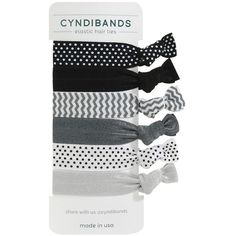 CyndiBands Set of 6 Print and Solid Hair Ties, Lark 1 ea ($8.95) ❤ liked on Polyvore featuring beauty products, haircare, hair styling tools, accessories, hair, fillers, hair accessories and beauty