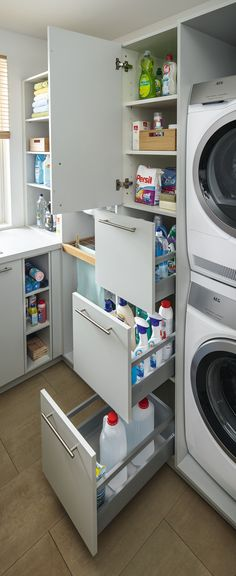 Utility room from Spitzhüttl Home Company - Wohnen - Hauswirtschaftsraum von Spitzhüttl Home Company Practical drawers make it easier to keep an overview and keep everything within reach. More information about the utility room at Spitzhüttl Home Company. Laundry Room Remodel, Laundry Room Organization, Laundry Storage, Laundry Room Design, Bathroom Storage, Organization Ideas, Storage Ideas, Utility Room Storage, Ikea Utility Room