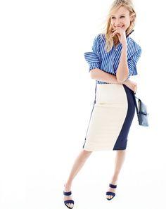 J.Crew women's vertical stripe shirt, colorblock pencil skirt in super 120s and…
