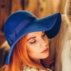 Royal Blue Floppy Hat  #floppy #felt #hat #autumn #feminine #womens #ladies #casual #daywear  #winter #hats #fedora #fedoras #uk