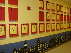 Such an awesome classroom set up. Organized, labeled AREAS (must do!), and superhero theme. YES! 2013-2014 Bring it on.