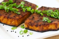 3 ingredient- Easy Baked Tofu with Soy and Sesame #recipe