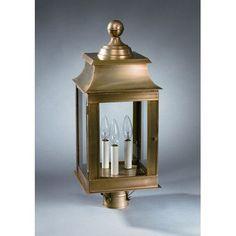 Northeast Lantern Concord 3 Light Lantern Head Finish: Antique Brass, Shade Type: Seedy Marine