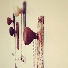 Skagit restore treasures. Repurposed door knobs make for a fun way to store and display jewelry