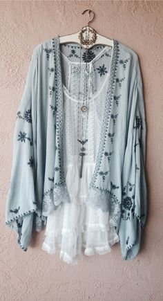 Image of Ice Blue Embroidered Bohemian Kimono