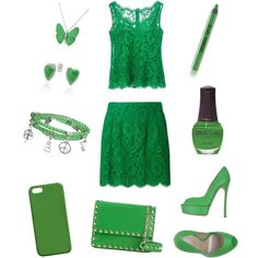 green outfit by xxfrozengirlxx on Polyvore featuring polyvore fashion style Dolce&Gabbana Casadei Valentino Bling Jewelry Maison Takuya SpaRitual
