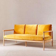 Inspiring Yellow Sofas To Perfect Living Room Color Schemes 11 - DecOMG Yellow Sofa, Velvet Sofa, Velvet Lounge, Velvet Chairs, Living Room Color Schemes, Living Room Seating, Living Rooms, White Sofas, Leather Sofa