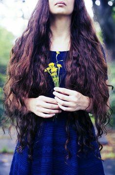 #longhair #floral #brunette #naturelover #wavyhair #curly #rapunzel