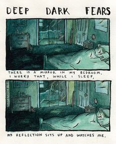 Los Angeles-based artist Fran Krause created a series of quirky comic illustrations that depict people's deepest and darkest fears called 'Deep Dark Fears'. Creepy Stories, Horror Stories, Funny Stories, A Comics, Funny Comics, Short Comics, Creepy Comics, Horror Comics, Fran Krause