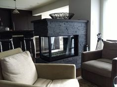 three sided modern fireplace | Houzz - Home Design, Decorating and Remodeling Ideas and Inspiration ...