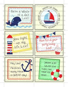 DIGITAL, PERSONALIZED lunchbox notes.  Nautical pack.  Great encouragement for your children.  Lunch box
