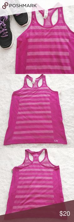 Athletic Racerback Tank Fuchsia color. Striped front and back. Racerback. Lighweight, mesh like material. A perfect running tank.   •USE OFFER FEATURE TO DISCUSS PRICING  •YOU MAY ASK FOR A BUNDLE QUOTE  •NO OUTSIDE TRANSACTIONS •NO TRADES Champion Tops Tank Tops