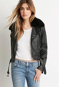 Faux Fur Moto Jacket | Forever 21 #foreverfamily
