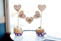 rustic birch heart wedding cupcake topper and banner | photo: www.hellolovephotos.com