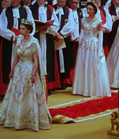 Images from the only colour film of the Queen's coronation.  I saw this dress when I visited Windsor in 2003: it is amazingly beautiful and the Queen was super tiny when she wore it!