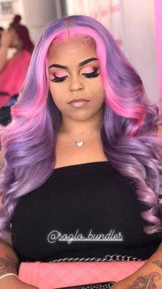 Pink and Purple Hair Bundles Baddie Hairstyles, Black Girls Hairstyles, Weave Hairstyles, Pretty Hairstyles, Woman Hairstyles, Wedding Hairstyles, Natural Hair Styles, Short Hair Styles, Colored Wigs