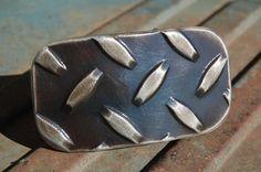Rugged Diamond Plate Heavy Steel Belt Buckle