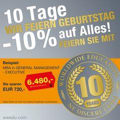 Zehn Jahre WWEDU – feiern Sie mit!  Für 10 Tage – von 2.9. bis 12.9.2013 – erhalten Sie einen Geburtstagsrabatt von 10 % auf alle unsere Produkte auf www.wwedu.com