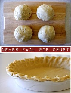 Never Fail Pie Crust.    4 cups flour  1 Tbl sugar  1 Tbl salt  1 3/4 cup vegetable shortening (non trans fat, such as Crisco or other). You can substitute butter or a mixture of both. Shortening makes the crust a bit more flaky and is easier to work with.    1 Tbl vinegar  1 egg  1/2 cup water    Mix flour, sugar, and salt. Cut-in the shortening w