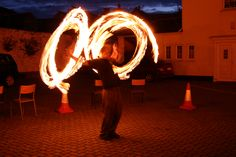 Double fire staff. Spinner: Chazz    Buy fire staffs: http://www.firetoys.co.uk/juggling/spinning/staff-spinning/fire-staffs.html