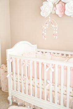Blogger Katelyn Jones A Touch of Pink Pretty Nursery Pottery Barn Crib