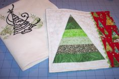 Christmas mug rug and embroidered towel