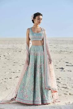 15 Anita Dongre Lehenga Designs With Prices - SetMyWed Blue Lehenga, Indian Lehenga, Indian Gowns, Indian Attire, Bollywood Lehenga, Sabyasachi, Pakistani Dresses, Indowestern Lehenga, Pakistani Lehenga
