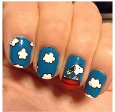 Snoopy and Woodstock -Nails-Nail Art- Cute Nail Art, Cute Nails, Pretty Nails, May Nails, Hair And Nails, Comic Nail Art, Snoopy Nails, Disney Inspired Nails, Anime Nails