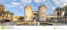 The Puerta Palmas roundabout, former entrance door to Badajoz from Portugal. Panoramic shot