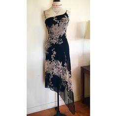 Ssssss...Hawt... SILK Slip Dream ✨EUC✨ Wispy, classy, now. ✨ Black and warm tan, perfect for cocktails, an evening wedding, summer theater date. ✨ Verrrry flattering, lined, adjustable straps.  ✨✨✨ BCBGMaxAzria Dresses Asymmetrical