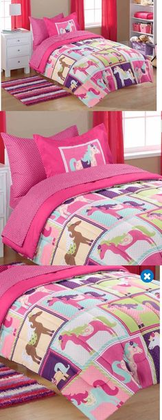 Kids at Home: Bedding Sets Twin For Girls Kids Comforter Pink Horses Ponies Bed In A Bag New BUY IT NOW ONLY: $62.99
