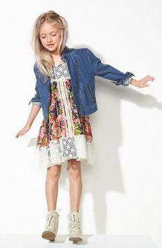 Floral dress + denim jacket = definitely adorable.