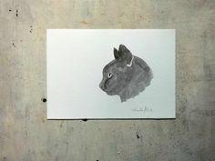 black cat portrait original watercolor  pet portrait wall by vumap