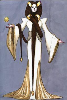 Padme Amidala concept art by Iain McCaig; check out that hair!