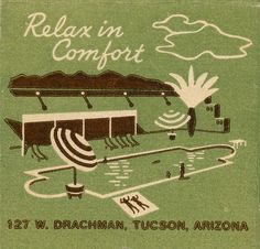 Tucson Inn. Tucson, AZ. by jericl cat, via Flickr. #30stem #matchbook. #20stem #matchbook. To order your business' own branded #matchbooks or #matchboxes. GoTo: www.GetMatches.com or call 800.605.7331 Retro Design, Vintage Designs, Retro Vintage, Vintage Hotels, Matchbox Art, Retro Ads, World Best Photos, Lettering Design, Graphic Illustration