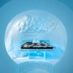 You can sleep in an Igloo! Sweden's is set at a constant chilly 23 degrees Fahrenheit, and features 11 ice art suites,… Ice Hotel, Ice Art, Sweden, Snow Globes, Home Decor, Decoration Home, Room Decor, Interior Decorating
