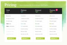 pricing table web design example