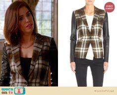 Marisol's tartan blazer with leather sleeves on Devious Maids Ana Ortiz, Tartan, Plaid, Devious Maids, Leather Sleeves, Confidence, Fashion Outfits, Blazer, Modern