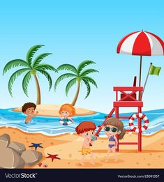 Children at the beach Royalty Free Vector Image Types Of Photography, Candid Photography, Documentary Photography, Aerial Photography, Picture Story For Kids, Photo Story, Beach Images, Beach Pictures, Painting For Kids
