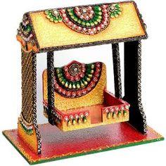 aapno rajasthan textured pooja jhula in wood & clay