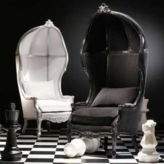 These chairs remind me of the buggies on the Haunted Mansion ride at Disney. All the more reason to love them.