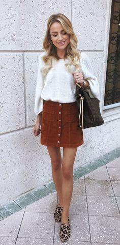 #winter #outfits brown button-up mini skirt