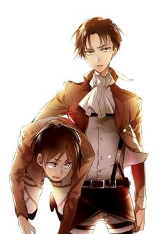 Anime/manga: Attack on Titan. Characters: Eren Yeager; Corpral Levi.