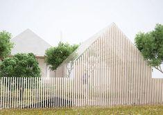 Huis (of kas) gaat over in de omgeving (hek)