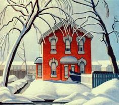"""Lawren S. Harris Canadian, Member of The Group of Seven 1885 - 1979 """"The Red House"""""""