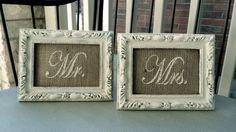 """Mr. & Mrs 5 x 7"""" segno di cerimonia nuziale della tela da imballaggio inserisce in Shabby Chic crema - tabella di testa o segnaposti - francese del paese, fienile, rustico, Home Decor"""